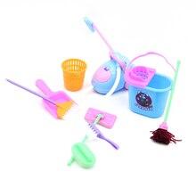 9PCS/Set Household Girl Dolls Toys Cleaning Tools Kit Children Plastic Simulation Furniture Cleaner Set