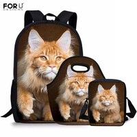 FORUDESIGNS Maine Coon Cat Ginger Printing Children School Bags Set for Primary Girls Kids Backpacks Orthopedic Mochilas Escolar