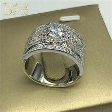 BOAKO luxe cristal Zircon anneaux bague de fiançailles femmes/hommes mode bague de fiançailles hommes anneaux de mariage pour femmes anillos mujer B4
