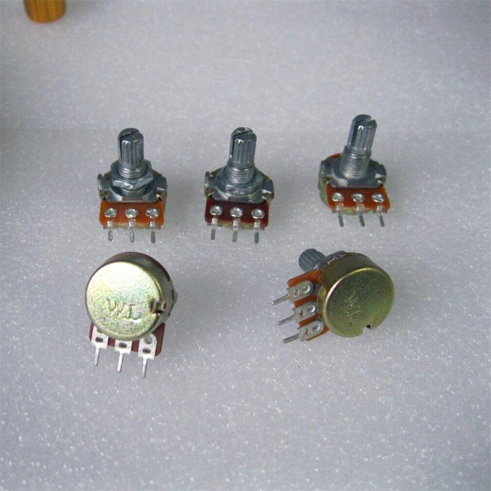 10 piezas de alta calidad WH148 B10K interruptor de tamaño de volumen lineal eje de 15mm con tuercas y arandelas calientes