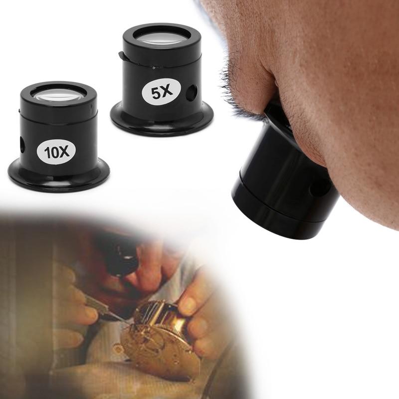 5X 10X Monocular Glass Magnifier Watch Jewelry Repair Tools Loupe Lens Black useful Eye Optical Loop