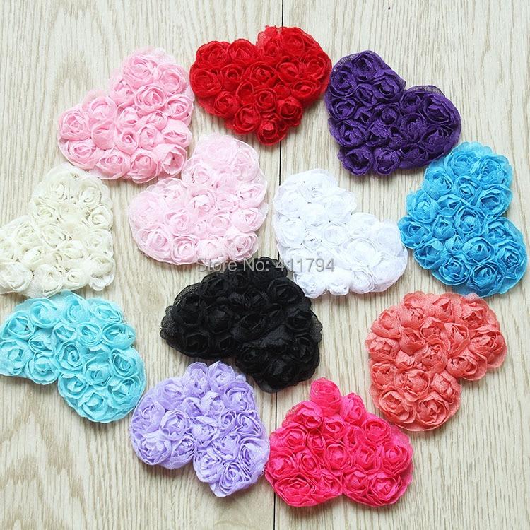"2.5""  Shabby  chiffon heart, shabby flowers (12 colors  choose )"