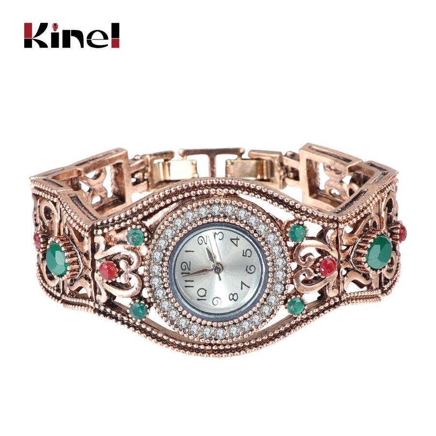 Kinel Turkish Bracelet Watches Antique Gold Color Vintage Bracelets Bangles For Women Clock Relojes Mujer Hollow Wrist Joias