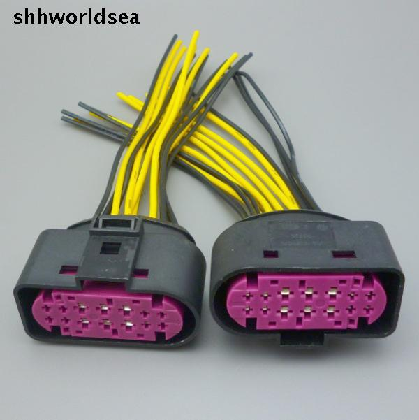 Shhworldsea para VW Golf faro conector de luz frontal Adatper 14Pin 1J0973737 1J0 973 737