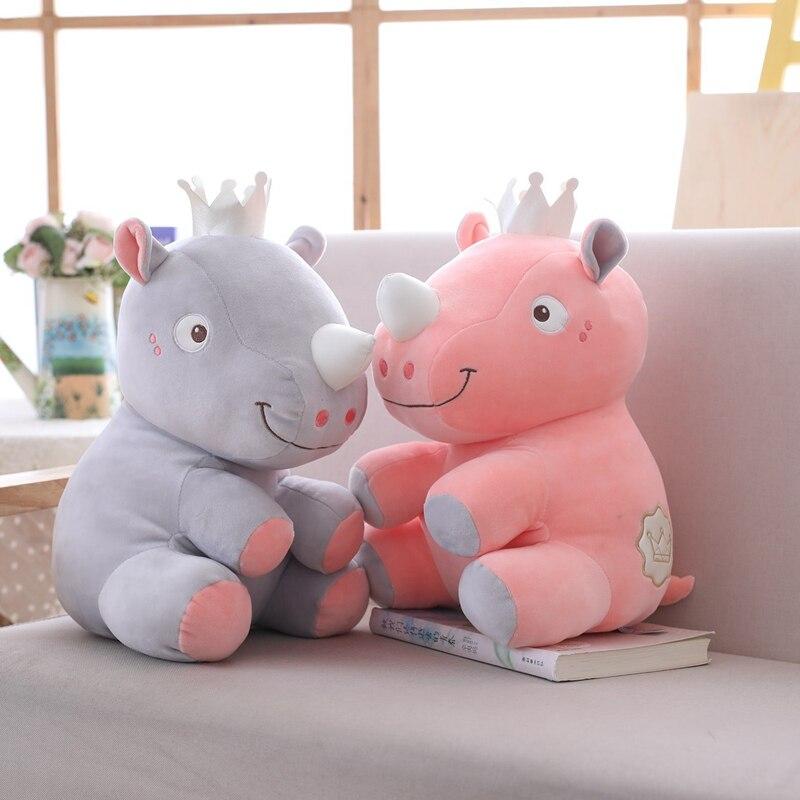 High Quality Simulation Rhinoceros Hippo Plush Toy Cute Soft Cartoon Animals Stuffed Doll Home Sofa Pillow Kids Girlfriends Gift