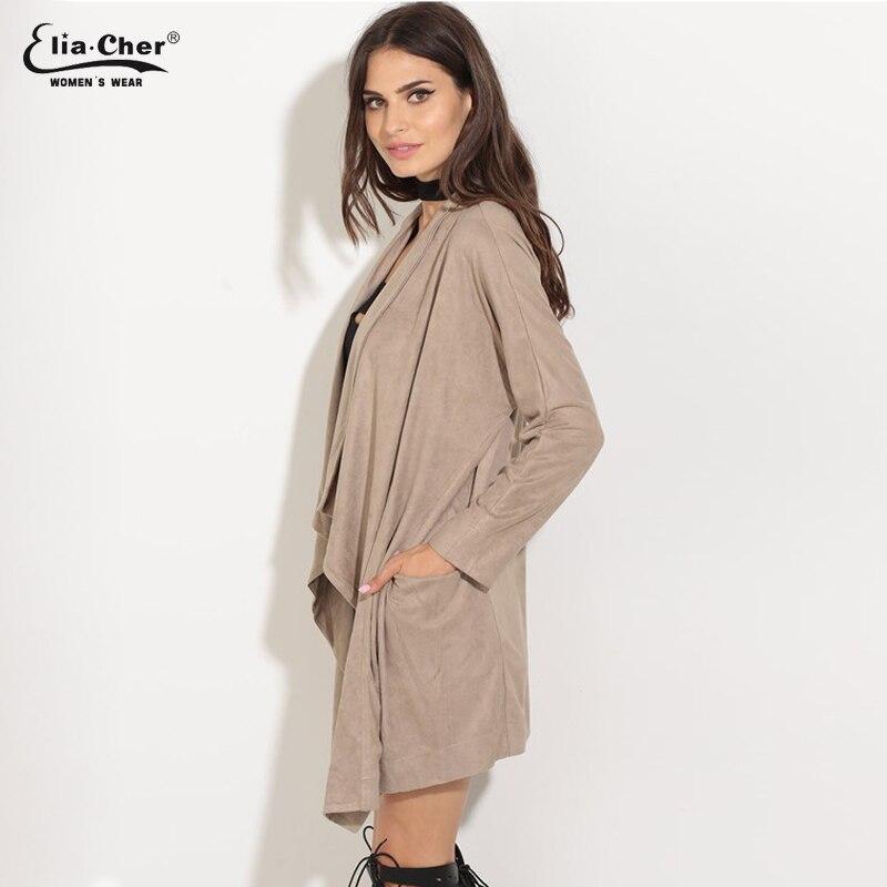 Mujer Otoño abierto Stich moda larga ropa de abrigo Fuax chaquetas de cuero abrigos Eliacher invierno más tamaño señora Sweatwear abrigo 8625