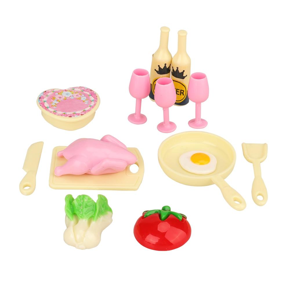 Date 22 articles/lot de meubles de cuisine maison de poupée = 7 outils de nettoyage de ménage + 15 ustensiles de cuisine bouteille miniature pour poupée Barbie