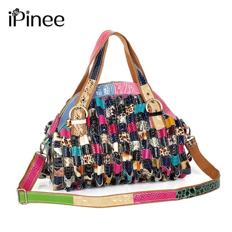 IPinee العلامة التجارية حقائب جلدية أنثى موضة الأفعى نمط حقيبة هوبو جودة عالية حقائب يد جلدية حقيبة كتف ملونة