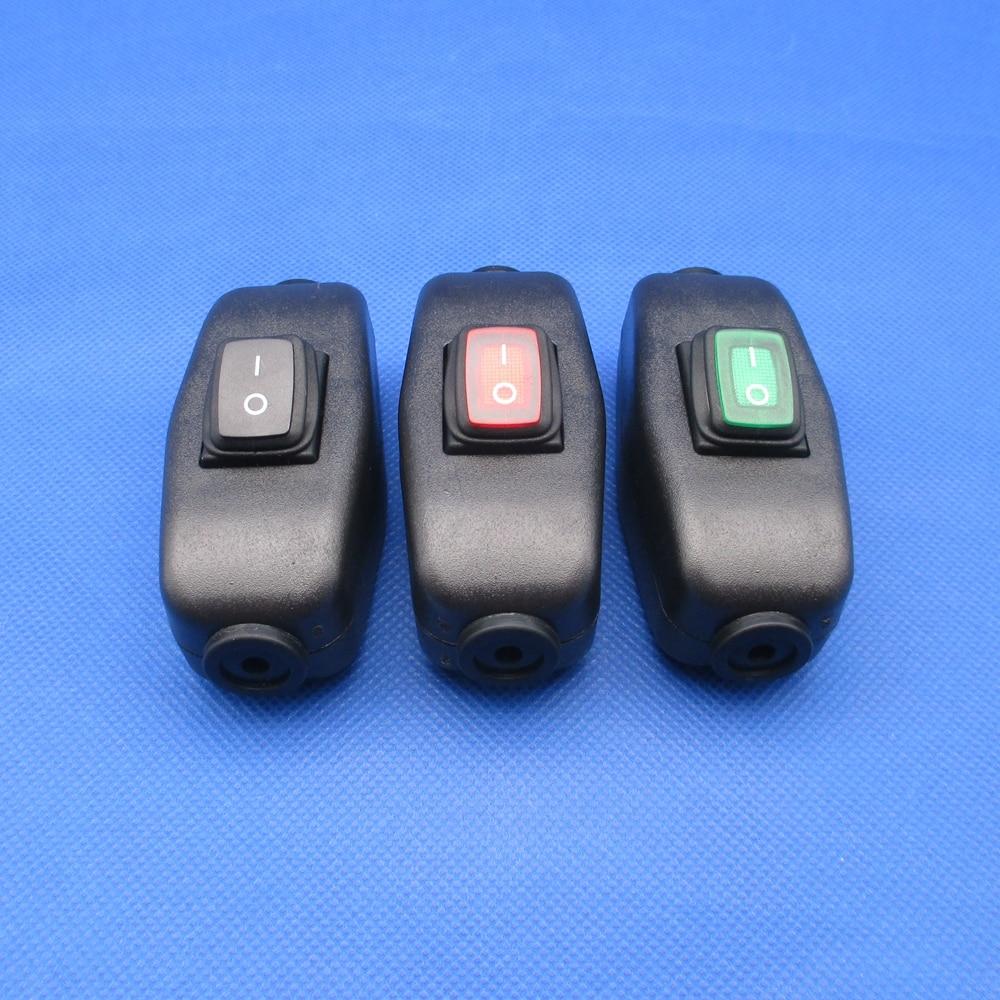 1 piezas en línea impermeable interruptor de Cable midway interruptor basculante con indicador de luz lámpara de switche 6A250V 10A125V