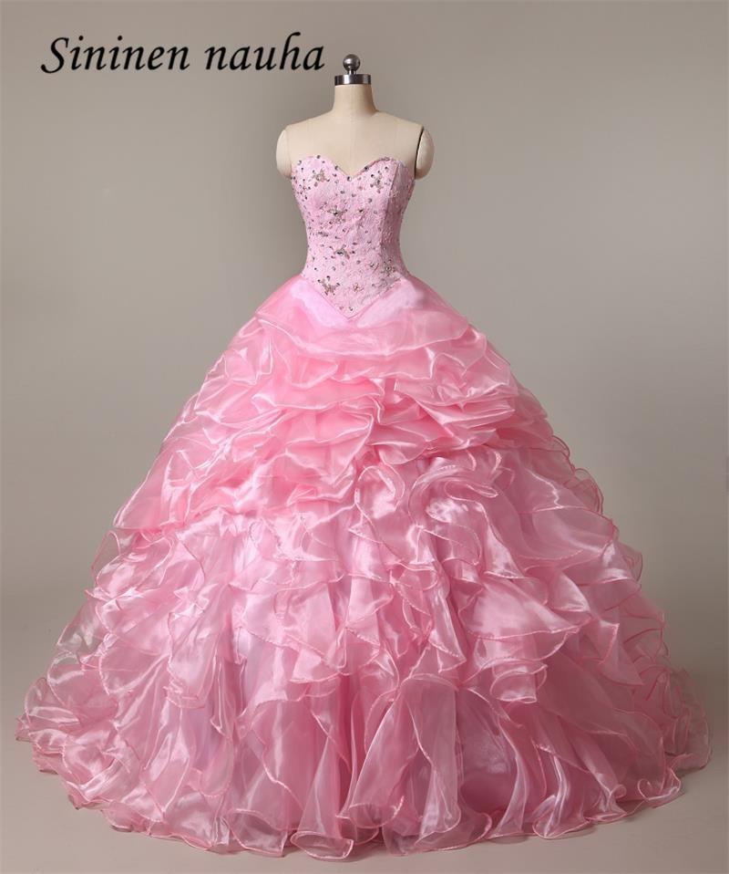 Quinceanera Dresses Long Prom Party Dress Pink Sweetheart Beaded Ball Gown Juniors Cheap Vestidos De 15 Anos Sweet 16 Dresses 73