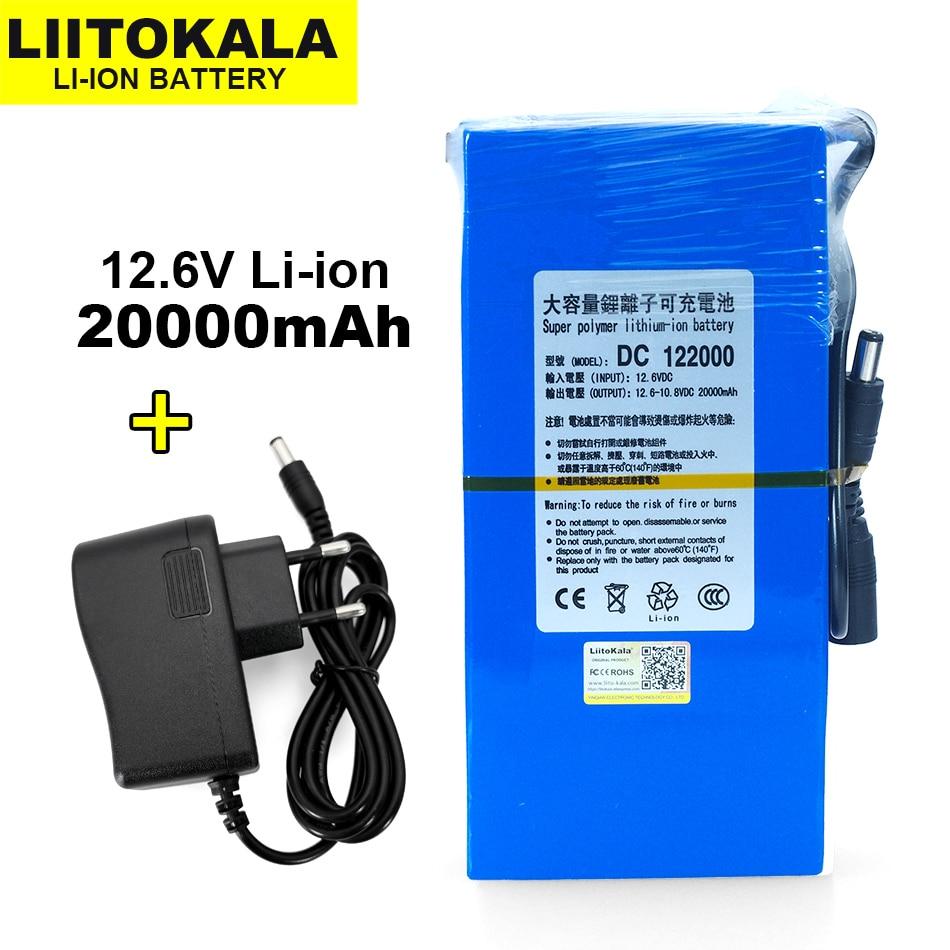 LiitoKala Universal 12 V/11,1 V Li-Ion batterie, kapazität 20000 mAh 15000 mAh 9800 mAh, 12,6 V lithium-ionen batterie, blau.