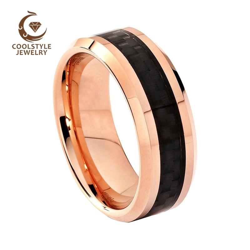 Мужские и женские вольфрамовые свадебные браслеты цвета розового золота с