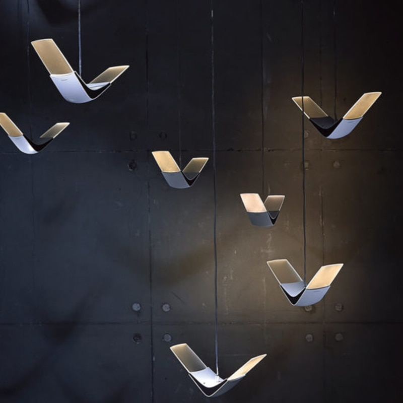IKVVT الشمال الإبداعية النورس قلادة أضواء وحدة إضاءة LED جداريّة مصباح ديكور لشريط غرفة الطعام تعليق تركيبات إضاءة الإنارة