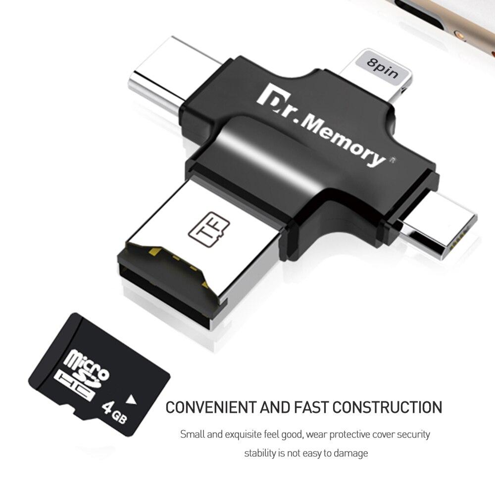 Adaptador de unidad flash USB 3,0 Tarjeta de lector de memoria para Apple iphone 6s 7 plus expansión de metal colgante OTG TYPE-C