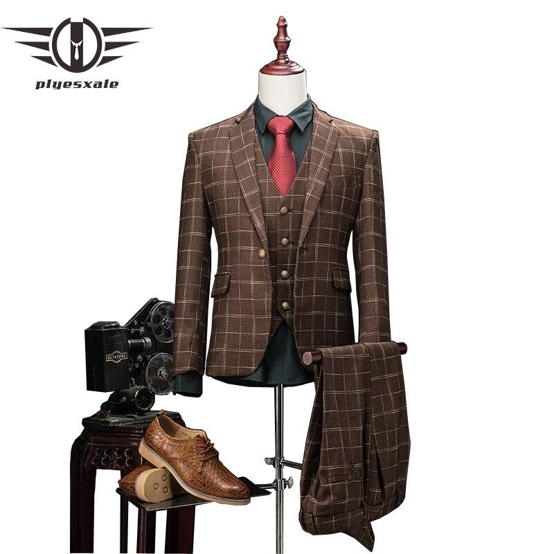 Мужской шерстяной костюм Plyesxale, облегающий костюм в клетку из 3 предметов, стильный свадебный костюм цвета хаки для мужчин, деловая официаль...