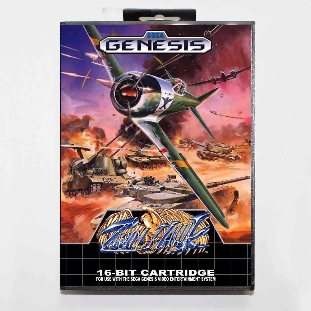Twin Hawk-tarjeta de juego MD, 16 bits, con caja de venta al...