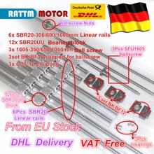 Vis à bille 1/650/1050 + 3BK/BF12 & 3 jeu BK/BF12 & 6 pièces rails de guidage linéaire SBR20 et 3 coupleurs pour Kit