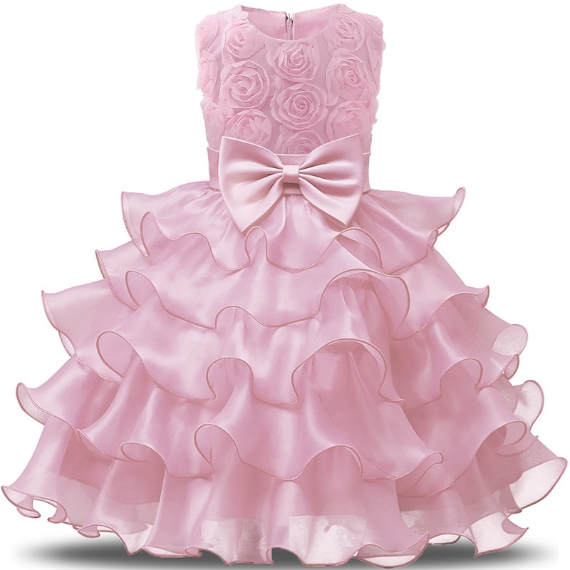 Robes pour filles   Sans manches, vêtements princesse de fête, anniversaire, baptême et nouvel an, pour enfants 5-8 ans