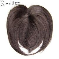 Similler, белые, черные, коричневые, золотые искусственные челки на клипсах, синтетические накладные волосы из высокотемпературного волокна