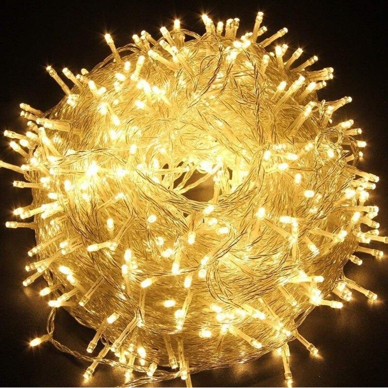 LED String Light 10M 20M 30M 50M 100M AC220V Xmas Holiday Light Waterproof Christmas Lights 9 Colors Decoration Lamp