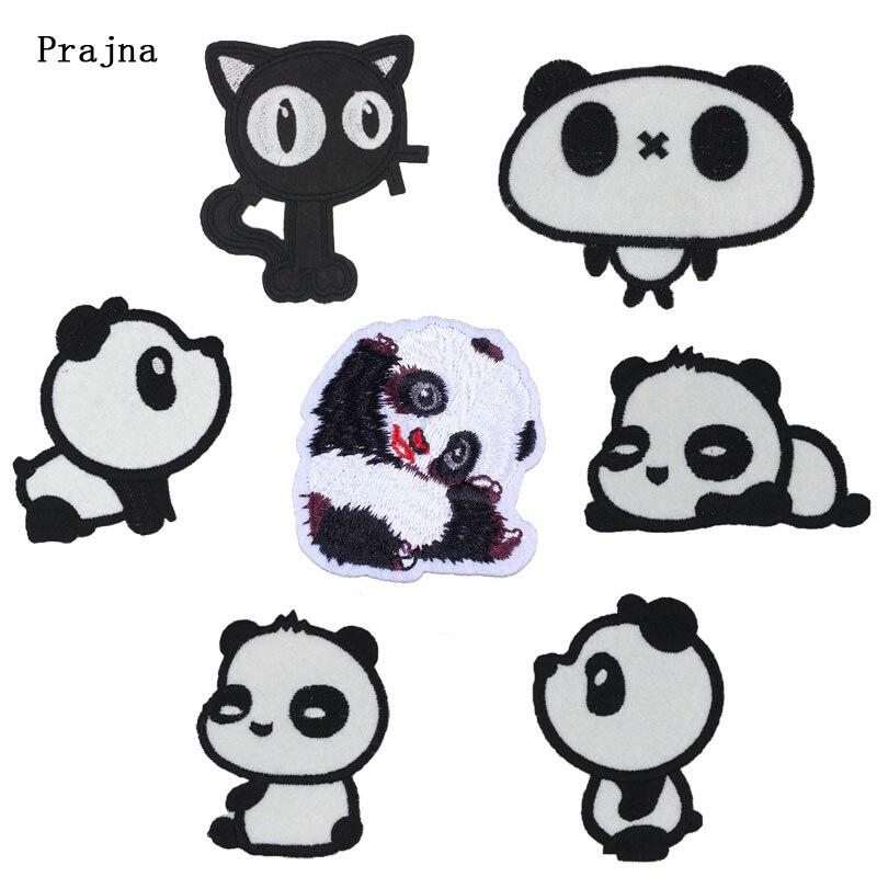 Prajna, Parche de perro, gato, Tigre, Panda, parches de hierro en dibujos animados, apliques de Anime, lindos parches bordados para ropa, decoración de ropa para niños