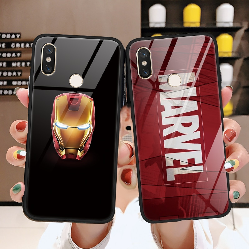 Marvel veneno de templado de vidrio de hombre de hierro cubierta del TPU para Xiaomi Mi 9 A2 6X Max3 5S 6 8 Lite SE para Redmi 7 5 Plus Nota 5 6 pro S2 caso