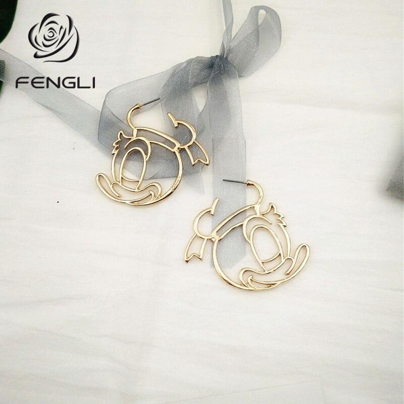 Fengli margarida pato dos desenhos animados brincos para mulheres menina mickey brinco festa de casamento jóias personagem rosto elegante engraçado bijoux