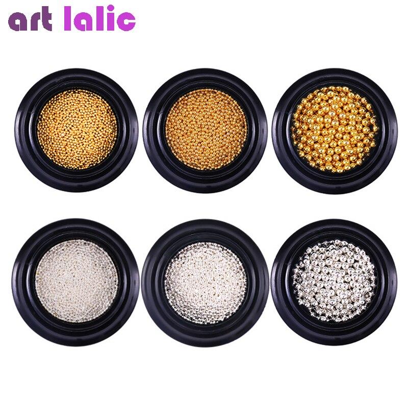 Mini bola de acero de Caviar de 3D decoración de uñas/0,8/1/2mm de plata de oro Micro perlas manicura de uñas decoración arte pendientes