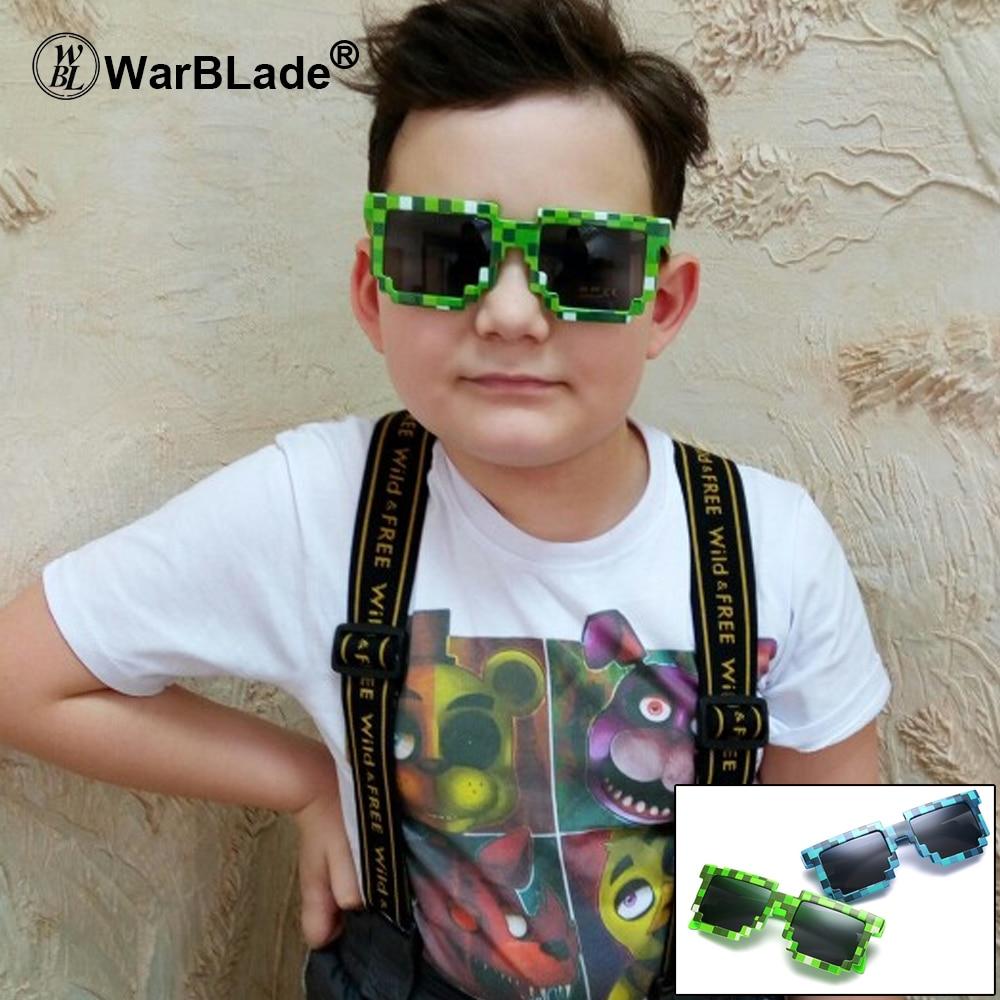 Gafas de sol WarBLade 8 bits píxel mujeres hombres gafas de sol de mosaico Masculino Femenino niños niñas Vintage 2018 nuevo