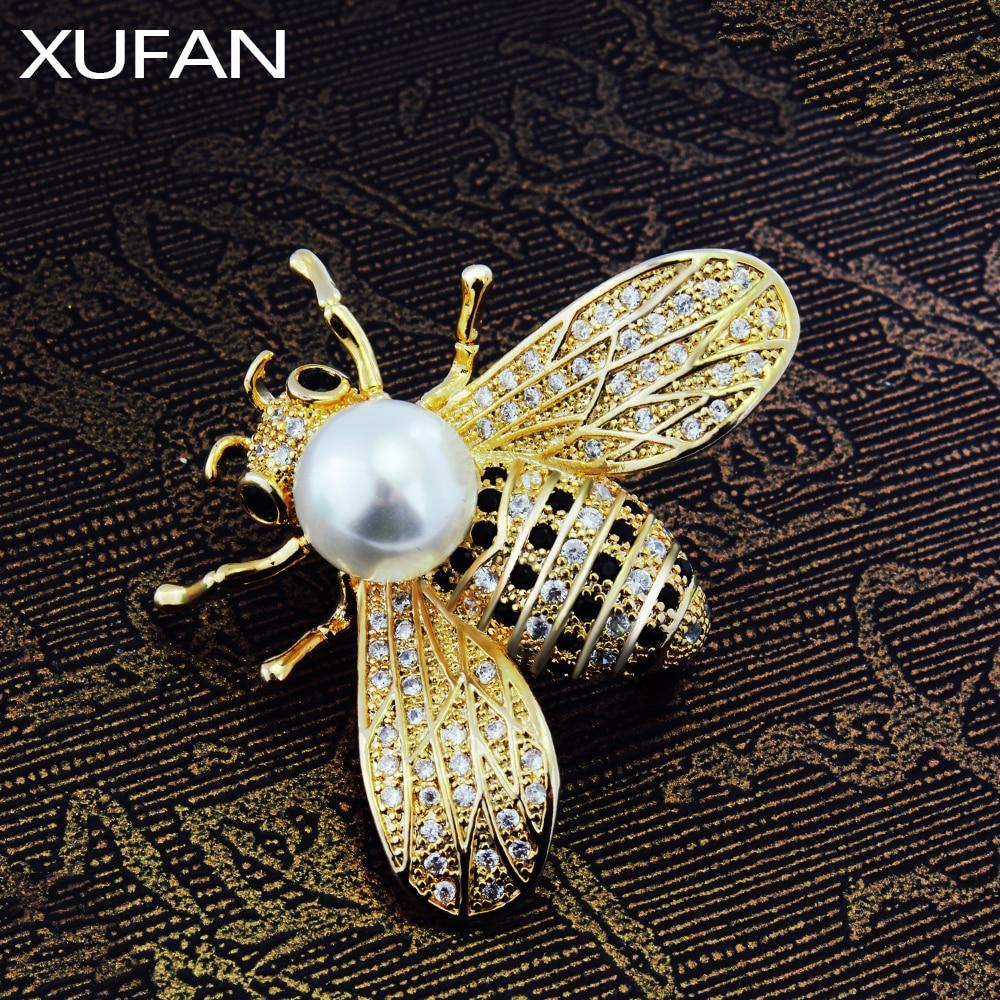 Милая брошь золотистого цвета пчела CZ циркон брошь для женщин и девочек аксессуары для одежды белый и черный кубический цирконий брошь насе...