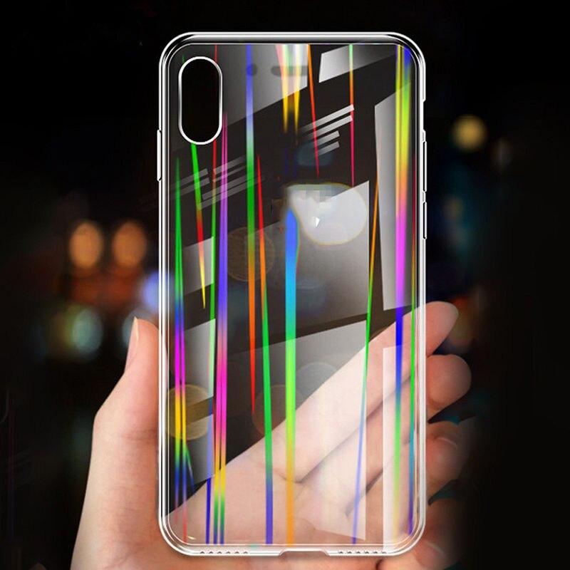 Claro transparente Aurora brillante láser funda para iPhone x XS XR XS Max 6S 6 7 8 Plus brillante suave de silicona caso de la cubierta