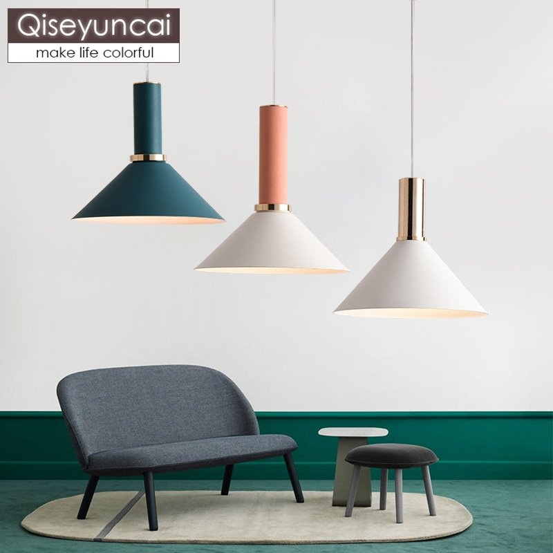 Lámpara de techo Qiseyuncai, estilo nórdico, posmoderno, para restaurante, con combinación de un solo cabezal, lámpara de hierro creativa simple para pasillo