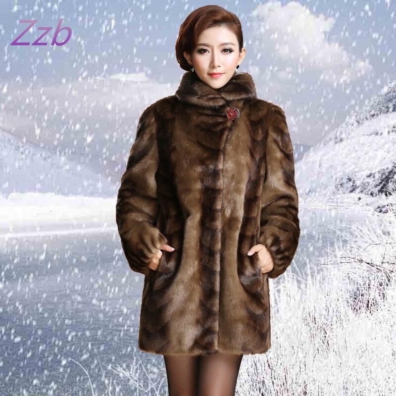 Новинка 2018, женская верхняя одежда в европейском стиле, женская одежда, верхняя одежда из искусственного меха норки, длинное дизайнерское п...