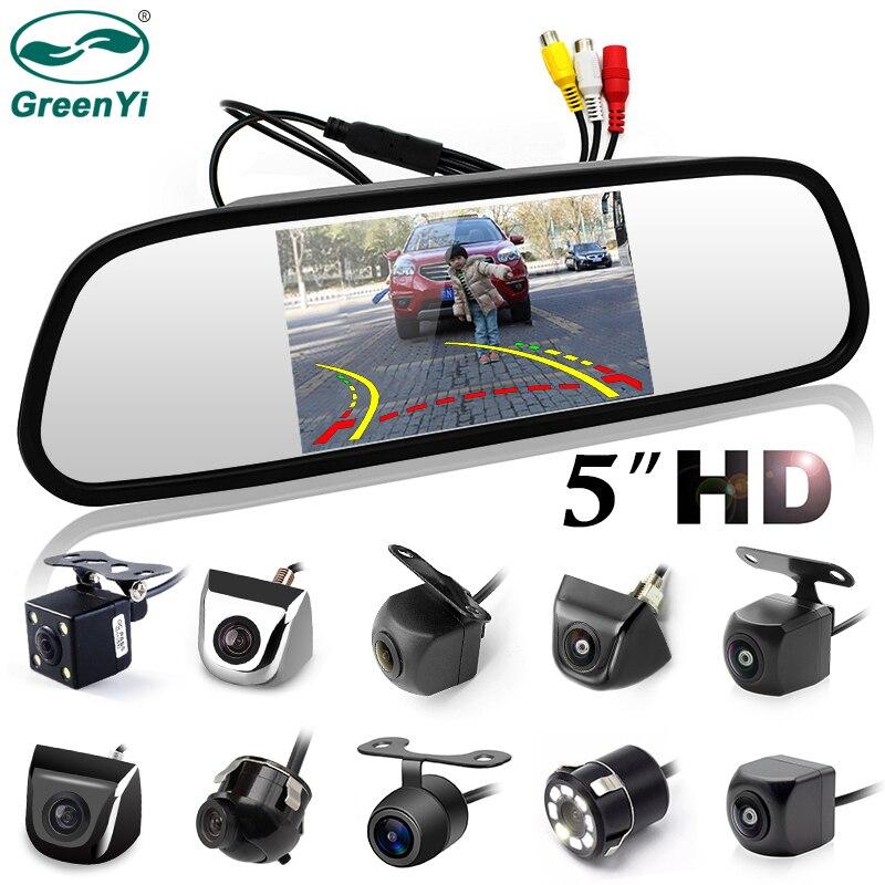 GreenYi 5 zoll Auto Rückspiegel mit Monitor für 170 Winkel Fahrzeug Rückansicht Kamera HD Sony TFT LCD Parkplatz system