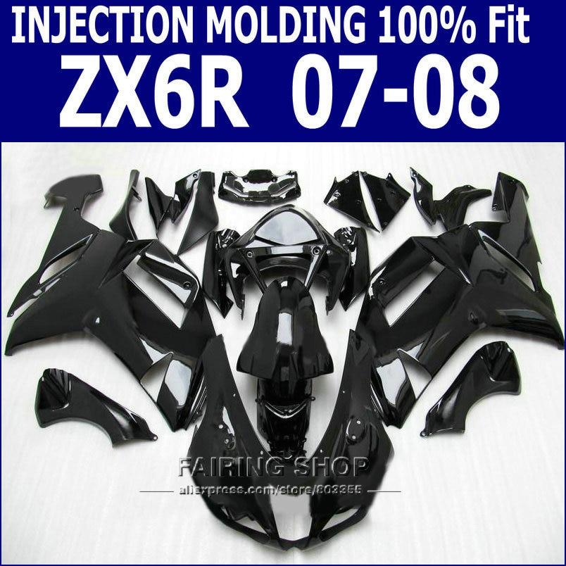 Kit de carenado zx6r 2007 2008 para Kawasaki Ninja zx-6r 07 08, molde de inyección de carenados (Negro Brillante + libre de Ems) S18