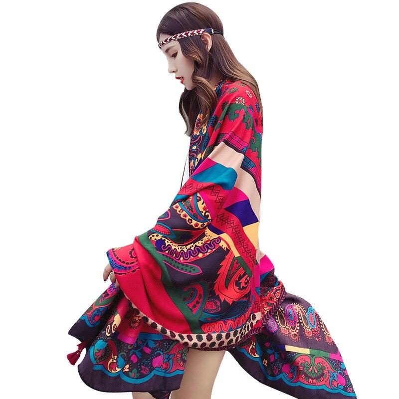 Женский шарф в этническом стиле, винтажная накидка с принтом, большой размер, Пашмина, бандана, весенне-Летняя Пляжная накидка, подарок для девочки