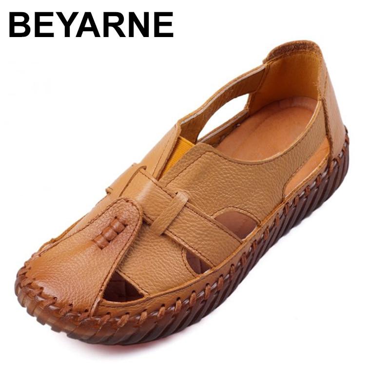 BEYARNE/женские сандалии ручной работы из натуральной кожи на плоской подошве в ретро-стиле; Сезон лето; 2018