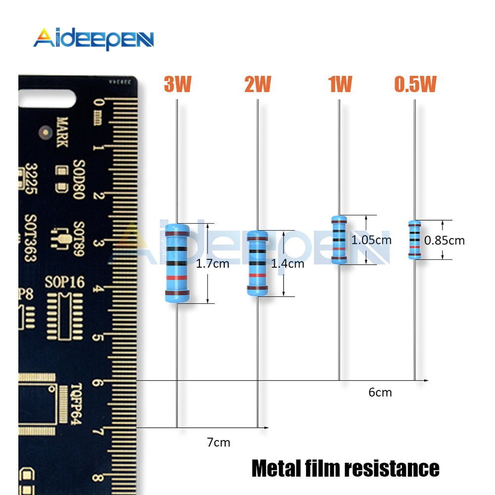 100Pcs 1/2w 1W 2W 3W Resistance 5.1K 4.7K 10K 22K 470R 1M 1% Metal Film Resistor Resistance (1 ohms~1 M ohm)