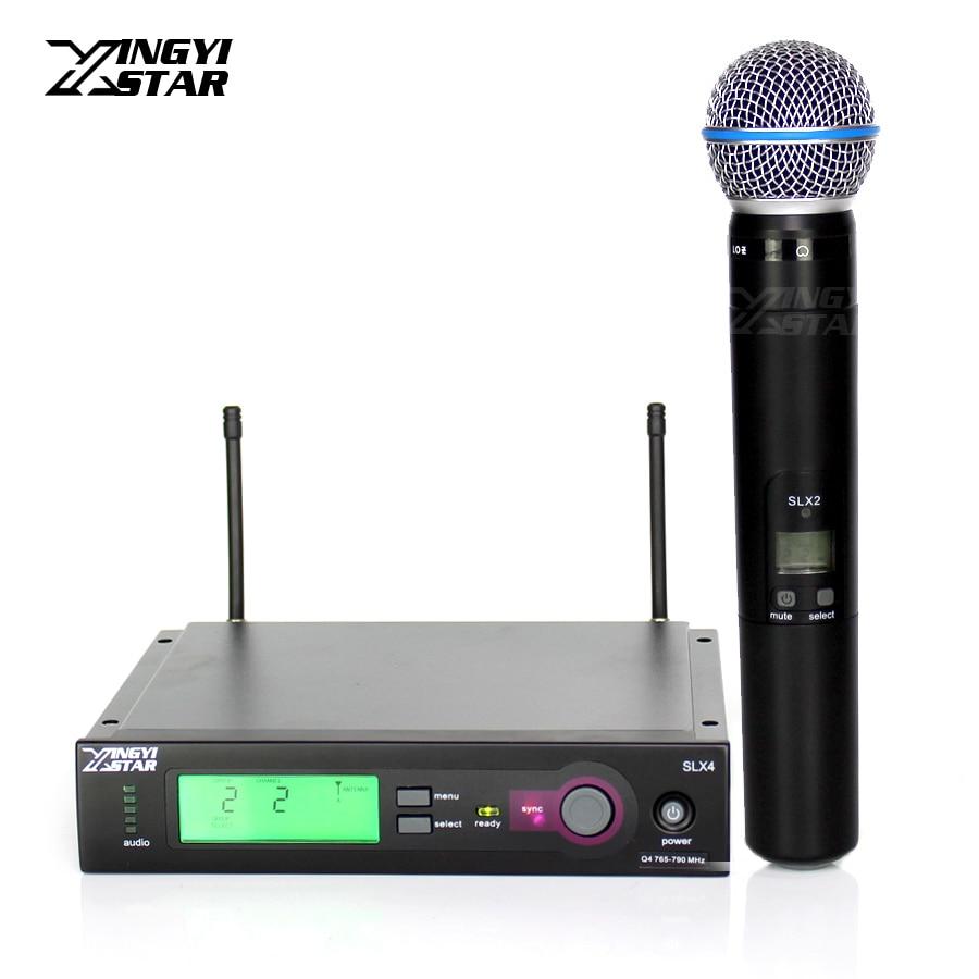 Profesional Beta 58A 58 SLX2 micrófono dinámico de mano SLX4 receptor inalámbrico para UHF MICRÓFONO INALÁMBRICO Karaoke Audio Mezclador