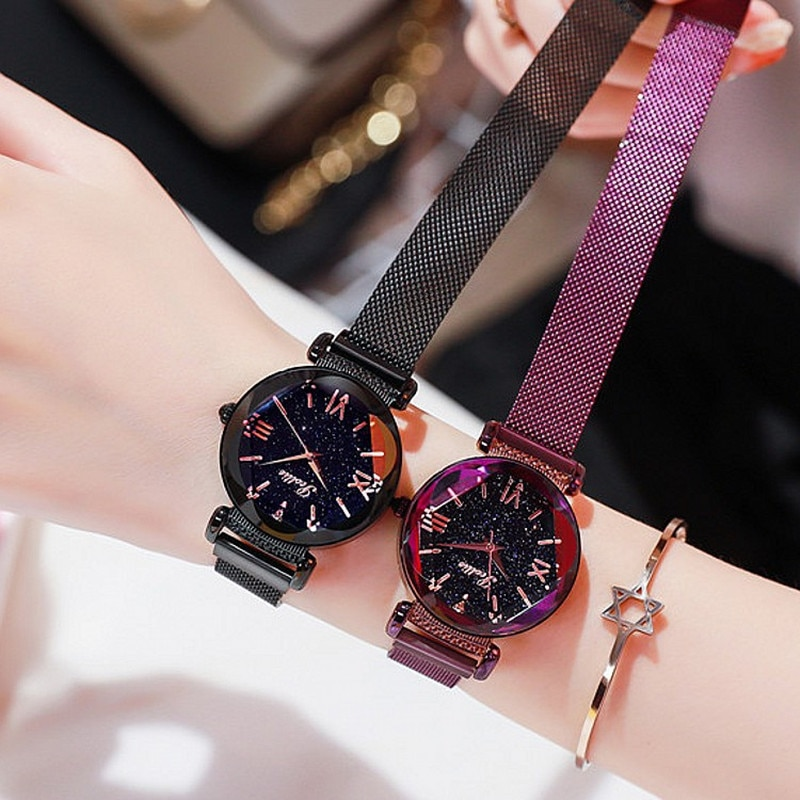 Top Brand Super Cool Women Watches Lady Rhinestone Dress Crystal Watches Fashion Mesh Belt Simple Magnet Buckle Watch Clock Girl enlarge