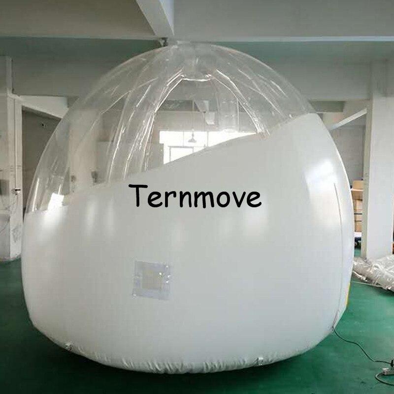 Tienda de campaña inflable de burbujas para exterior de 3m de diámetro, tienda de campaña inflable de medio blanco transparente para hotel con soporte