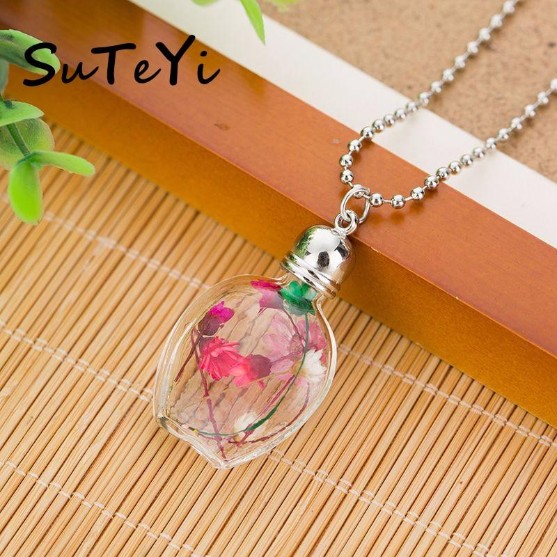 SUTEYI 2020 collar de botella de cristal de moda Cadena de bola rojo blanco verde flor seca corazón colgante transparente collar de declaración