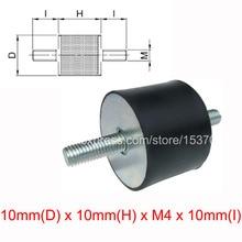 4 STKS VV type anti vibratie rubber schroef shock damper 10mm (D) x 10mm (H) x M4 x 10mm (I)