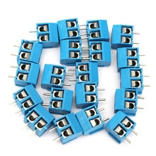 100 pcs 2 핀 나사 파란색 pcb 와이어 터미널 블록 케이블 커넥터 5mm 피치 KF301-2P