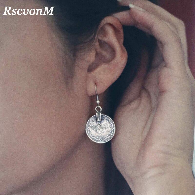 RscvonM Neue Marke Designer Ohrringe Für Frauen Kreis Münze Silber Farbe Farbe Runde Münze Böhmen Hochzeit Braut Mode Schmuck