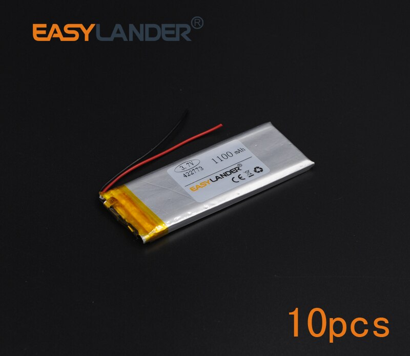 10pcs/Lot  3.7V 1100mAh Polymer Li-ion Battery For obile electronic  lighting Oticon Streamer safety lamp Flash lighting 422773