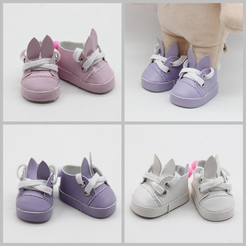 5cm Doll Shoes Fashion Imitation Leather Rabbit For Dolls Mini Toy 1/6 BJD 14 Russian Handmade