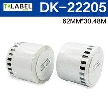 """3 rollen, brother-kompatibel DK 22205 Kontinuierliche Papier Label (2-4/9 """"x 100, 62mm x 30,48 m)"""