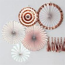1 set (6pcs) 호일 로즈 골드 바람개비 파티 팬 파티 종이 Rosettes 종이 바람개비 사진 배경 로즈 골드 웨딩 장식