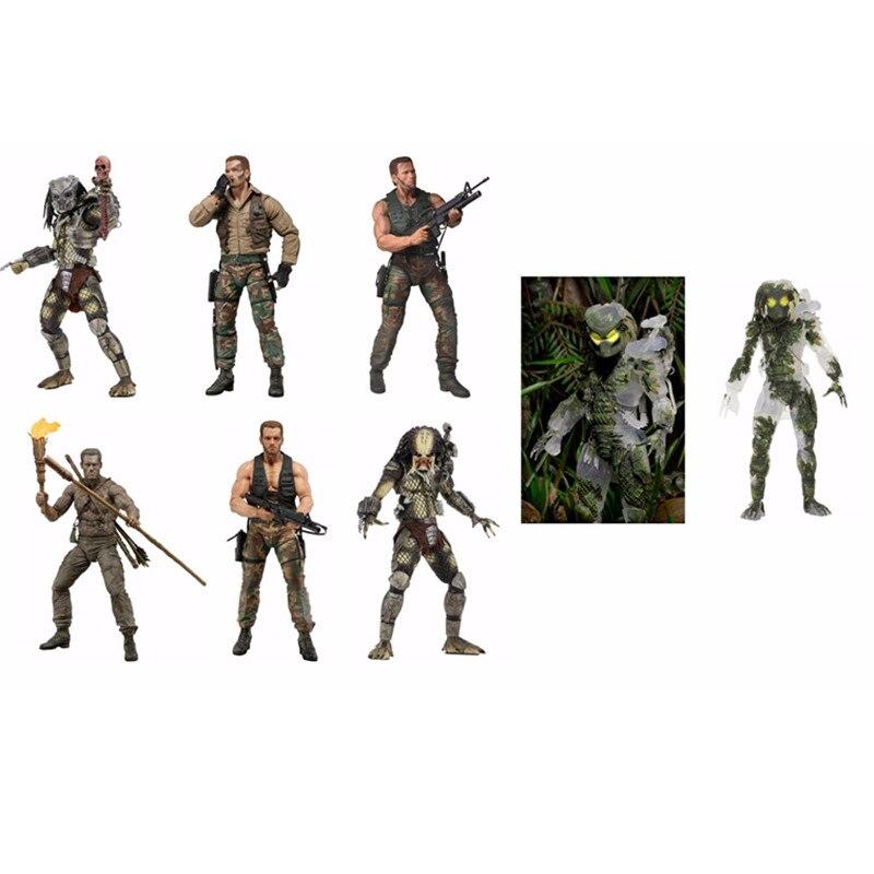 Figuras de acción de Aliens NECA vs Predator, 7 estilos, modelos de la serie Jungle Hunter, desenmascarado, Demon Jungle Patrol, gran juguete holandés DZ2442